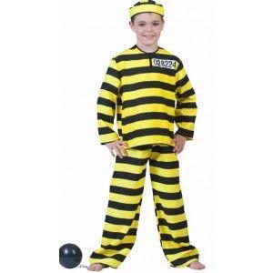 Deguisement dalton prisonnier enfant, costume de deguisement prisonnier noir et jaune à rayures pour garçon et fille.