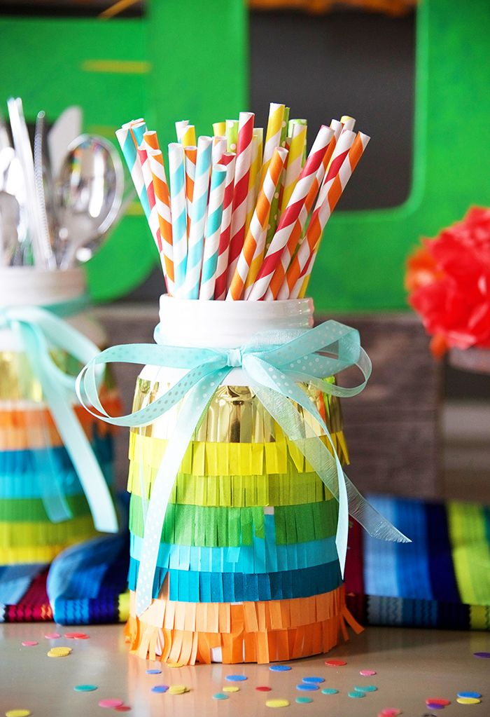 Cinco De Mayo party! Use fringe paper on glass jars for your fiesta!
