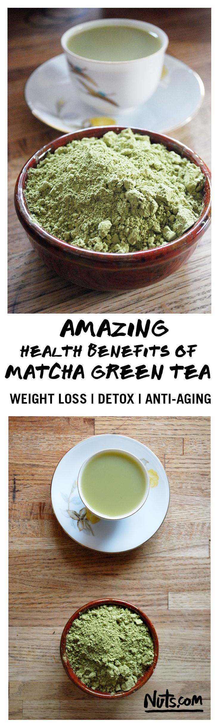 Amazing Health Benefits of Matcha Gree Tea | Imported from Japan, Matcha Green Tea is a high quality green tea powder with a heaping helping of health benefits. From anti-aging properties to weight loss and immunity boosting antioxidants, Matcha should definitely be in your life. You can even make delicious Matcha recipes including pancakes, lattes, and cookies! Find out more at Nuts.com!
