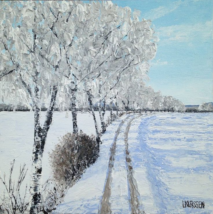 Frosted Birches, Acrylic on canvas,  10 x 10 inches