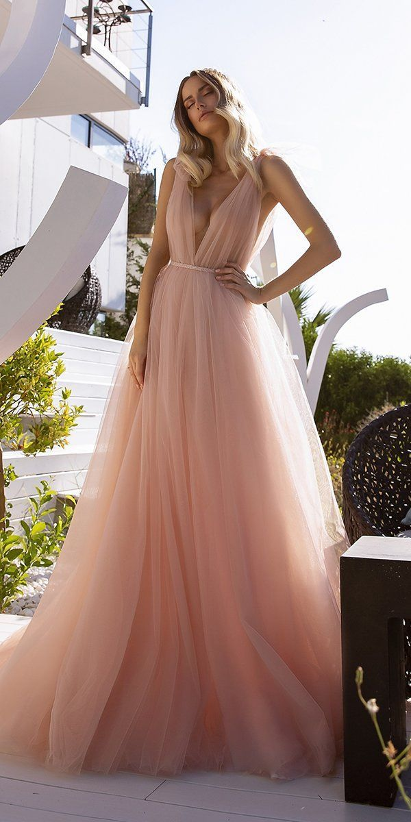 27 Peach Blush Wedding Dresses You Must See Wedding Forward In 2020 Wedding Dresses Blush Peach Blush Wedding Dress Tight Wedding Dress