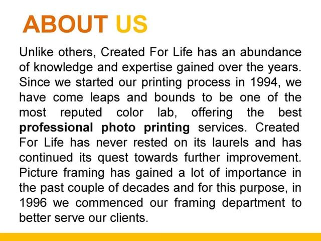 http://www.createdforlife.com.au/professional-packaging/ - Here at created for Life, we expertise in the most effective and professional photo printing to our clients at prices far reasonable than others.