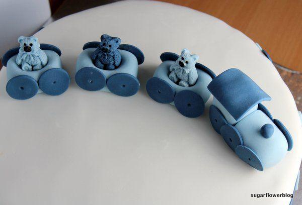 Blue fondant train - baby boy christening cake
