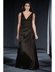 Shantung V-neck Draped Bodice Floor-Length Bridesmaid Dress