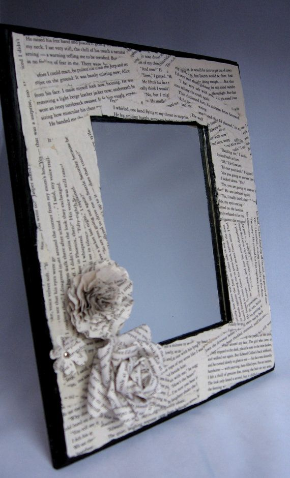 Twilight breaking dawn book page embellished mirror for Embellished mirror frame