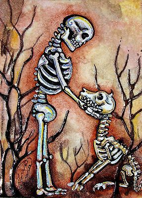 Love Lisa Luree's work! Here is her VERY Original Dia De Los Muertos GOOD DOG SKELETON day of the dead ACEO