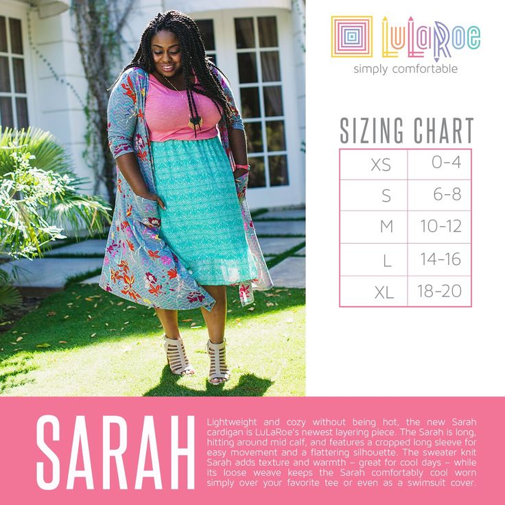 LuLaRoe Sarah Duster Cardigan Size Chart. See our current collection here - www.facebook.com/groups/LuLaRoeGilbertGirls/