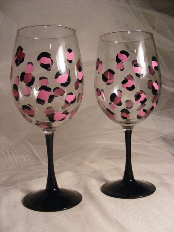 pink leopard wine glasses with black stem for by DelightfulFinds