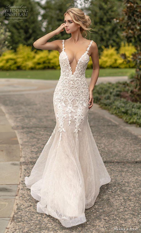 2ae604d19668 naama anat fall 2019 couture bridal sleeveless thin strap deep v neck  heavily embellished bodice elegant