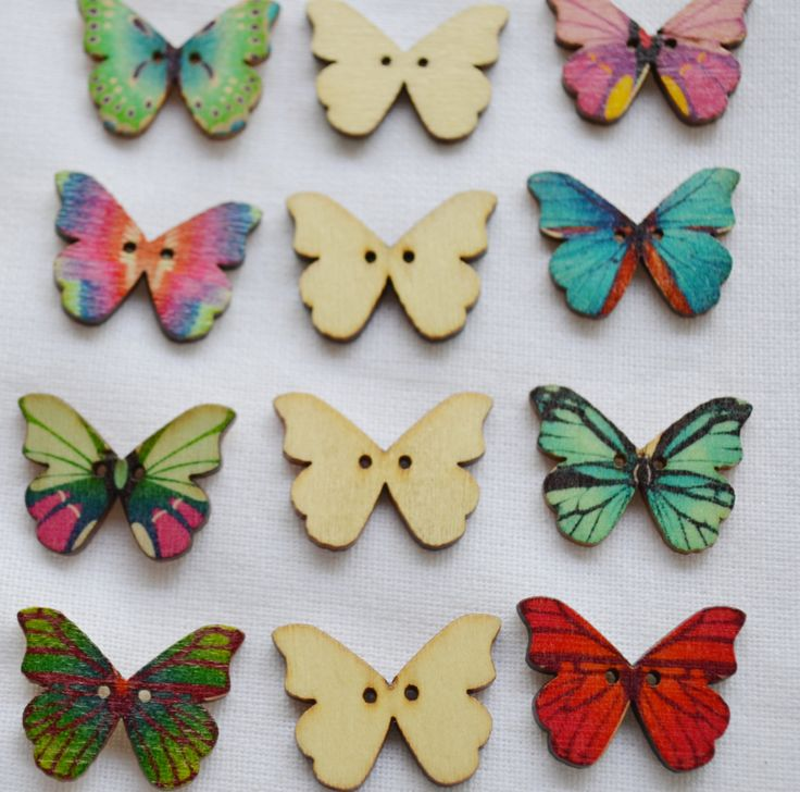 Set of 10 x  colourful butterfly shaped wood buttons, by yourbuttonshop on Etsy