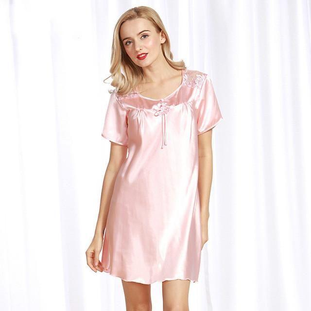 Luxurious Women Nightgowns New Faux Silk Lady Summer Sleepshirts ...