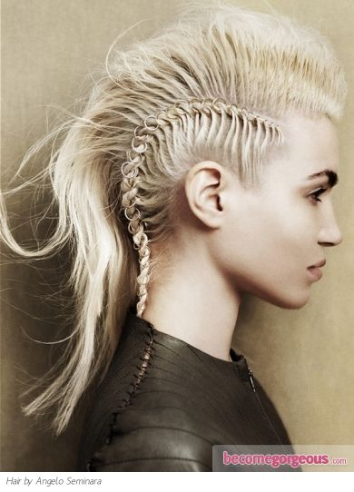 Make a smashing statement with a similar braided Mohawk hair style and show the best blueprint on how to rock out the hottest Punk looks of the season.