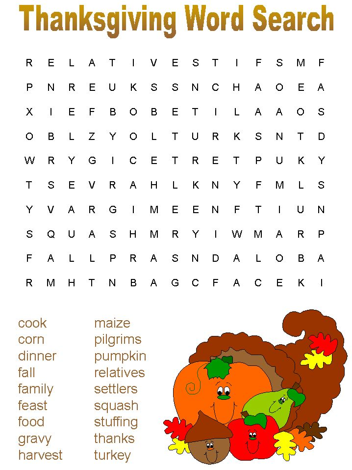 free thanksgiving games printable | The following are Printable Thanksgiving Mazes – Word Search Games ...