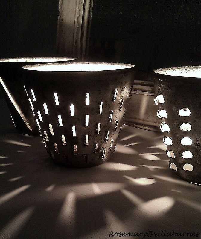 Graters to votives: Candles Lights, Decor Ideas, Lights Fixtures, Vintage Grater, Creative Crafts, Candles Holders, Teas Lights, Neat Ideas, Diy