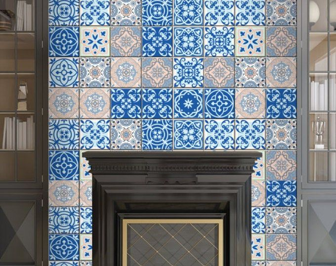 Peel And Stick Vintage Chic Blue Florentine Medallion Tile Etsy In 2020 Modern Wallpaper Wallpaper Stair Decals