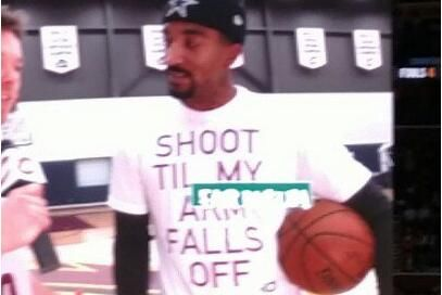 J.R. Smith  is  taking cues  from  Kevin Durant .  The  Cleveland Cavaliers  shooting guard was seen wearing quite the T-shirt on the Jumbotron at The Q Arena ahead of Monday night's game against the  Minnesota Timberwolves ...