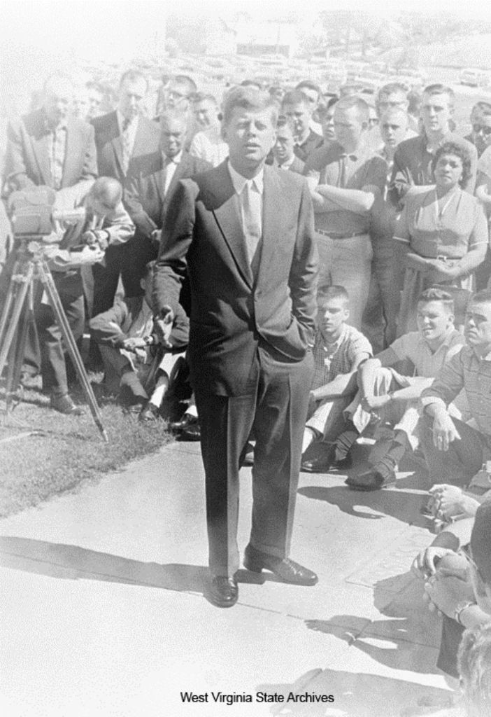 1960 Presidential Campaign in West Virginia Photographs  Photograph, John F. Kennedy speaking at West Virginia State College, Institute, May 5, 1960. West Virginia State College Collection ❁❤❁❤❁❤❁❤❁ http://www.jfklibrary.org/JFK/JFK-in-History/Campaign-of-1960.aspx