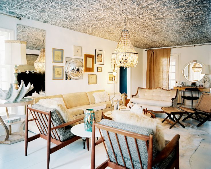 7 Of The Most Gorgeous Wallpapered Ceilings. Neutral Living RoomsEclectic Living  RoomLiving SpacesColored CeilingWallpaper ... Part 90
