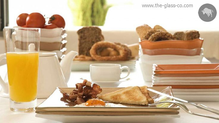 Breakfast service with square glass breakfast dinnerware set in warm color tones by Glass Studio www.the-glass-co.com