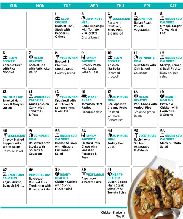 Monthly Calendar Ideas : Woman s day website gives monthly menu ideas with recipes