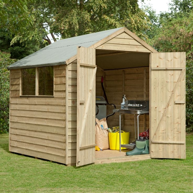 7x7 pressure treated overlap double door wooden shed