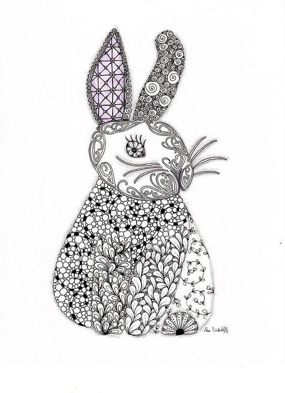 233 besten coloring rabbit Bilder auf Pinterest | Anti-stress ...