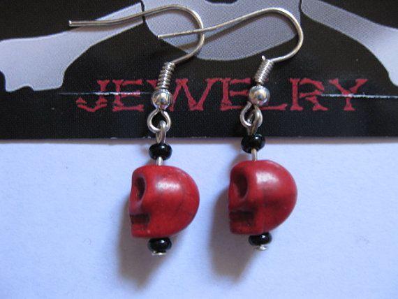Red Howlite Skull Earings by BoneMachineJewelry on Etsy, $7.50