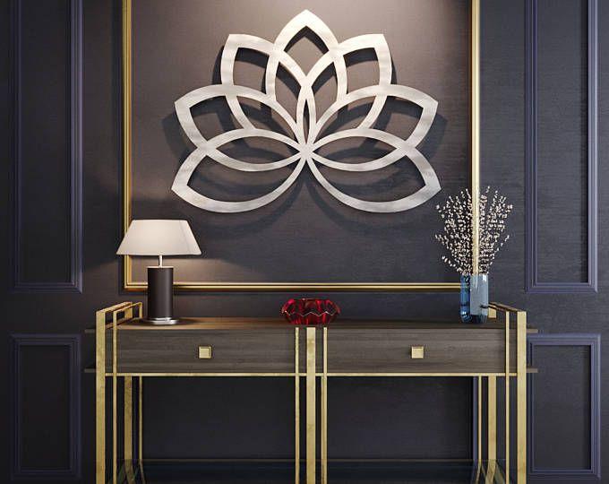 Arte de pared de Metal de la flor de loto, flor Metal pared arte, gran arte del Metal, escultura geométrica, arte de pared de Metal contemporáneo, arte de la pared, de la plata