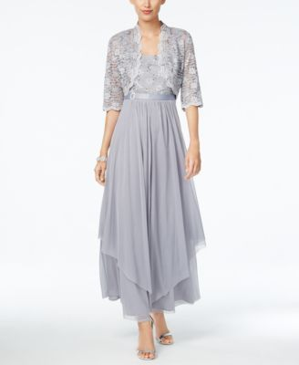 R&M Richards Sequined Lace Belted Gown and Jacket | macys.com