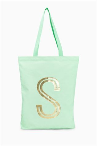 Mint Green Initial Canvas Shopper