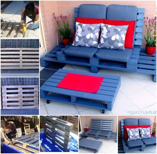 Pallet Lounge and Coffee Table Tutorial is durable enough for the great outdoors as well as inside the home.