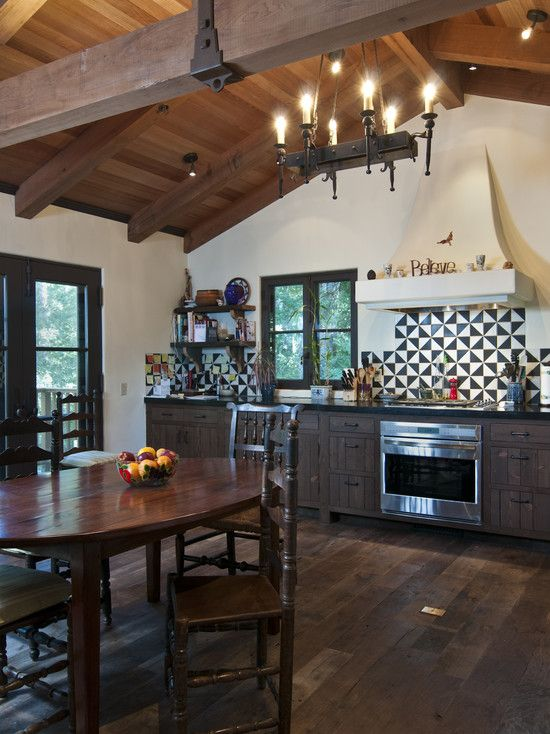 Modern Rustic Design Kitchen Wood Covered Ceiling With