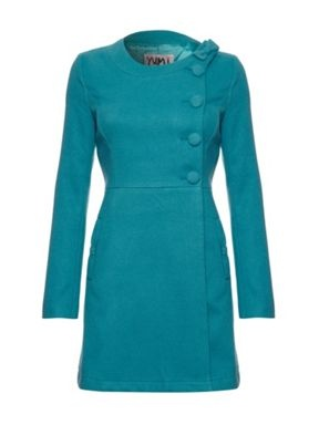 Oasis - Yumi Side button up coat Turquoise - House of Fraser