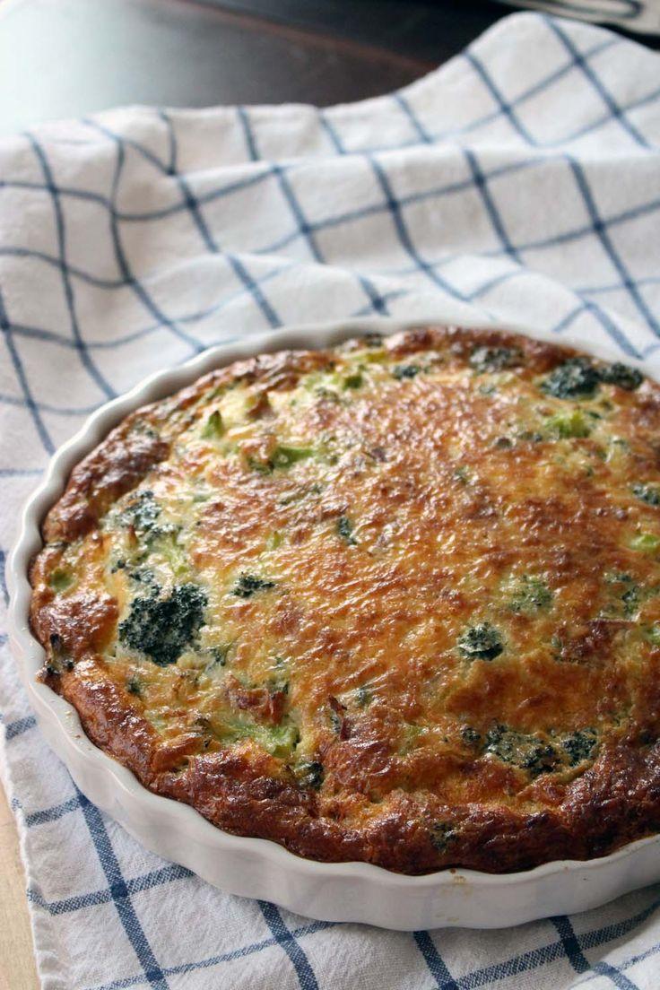 Crustless Broccoli Bacon And Cheddar Quiche Recipe