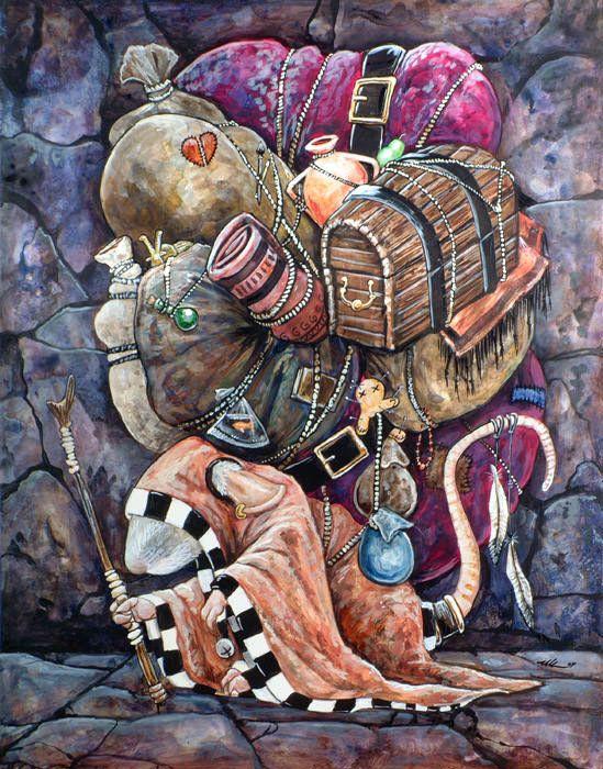 Packrat искусства иллюстрации смешной юмор визуальный каламбур воришка монах цыганский подправлять фантазии