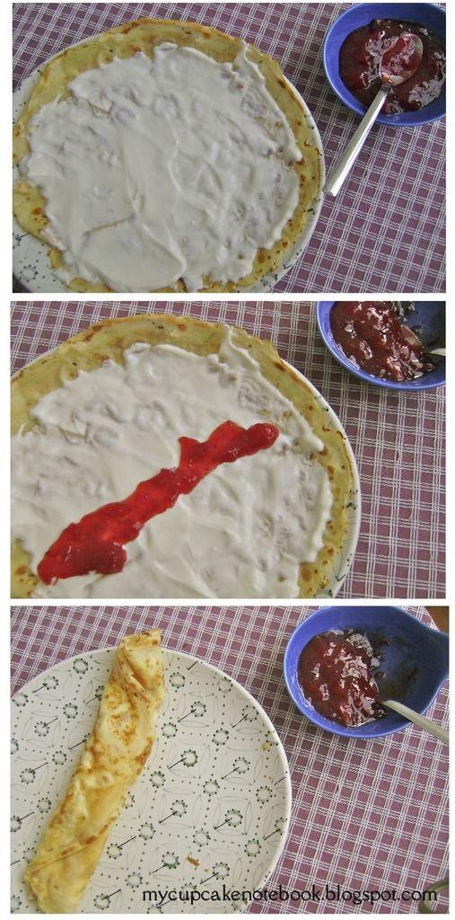 Cómo hacer crepes y Mermelada de ruibarbo y fresas  Crepe de yogur griego y mermelada de ruibarbo y fresas