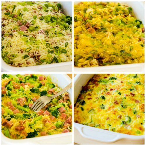 Broccoli, Ham, and Mozzarella Baked with Eggs (Low-Carb, Gluten-Free) [from KalynsKitchen.com]