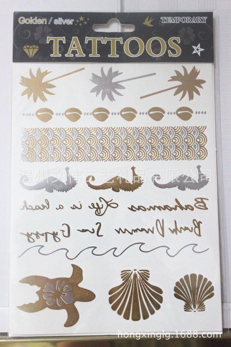 Золото металлический флэш татуировки серебряный временные татуировки пляж продукты секса бронза кокосовой пальмы черепаха тела передача купить на AliExpress