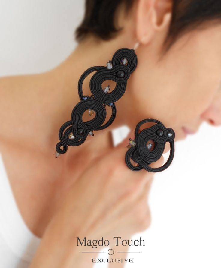 OOAK soutache earrings black statement earrings soutache ring black statement ring gift idea for her favorite jewelry best selling jewelry by MagdoTouch on Etsy