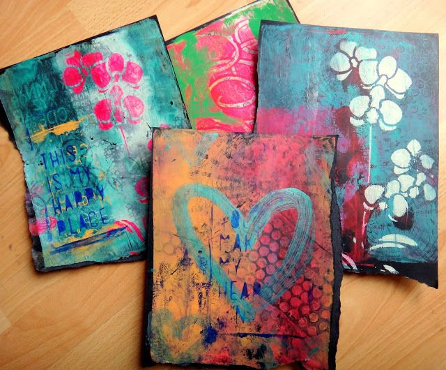 gelli prints on black paper - Pictures For Printing