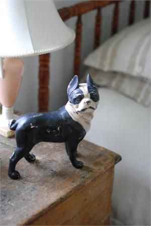 This friendly Boston Terrier Statue adds vintage charm as he stands guard over your bookshelf or fireplace mantle.
