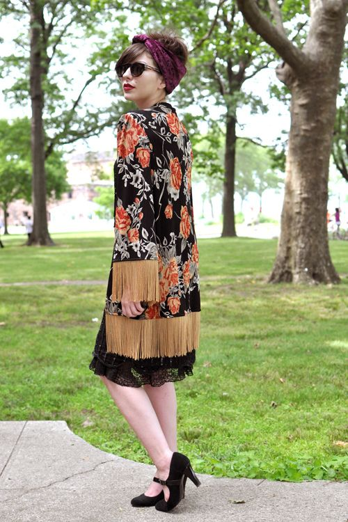 Fringe-y Jacket, Head Wrap (costumed for the Jazz Age Lawn Party, but still!) This girl has a great fashion blog!