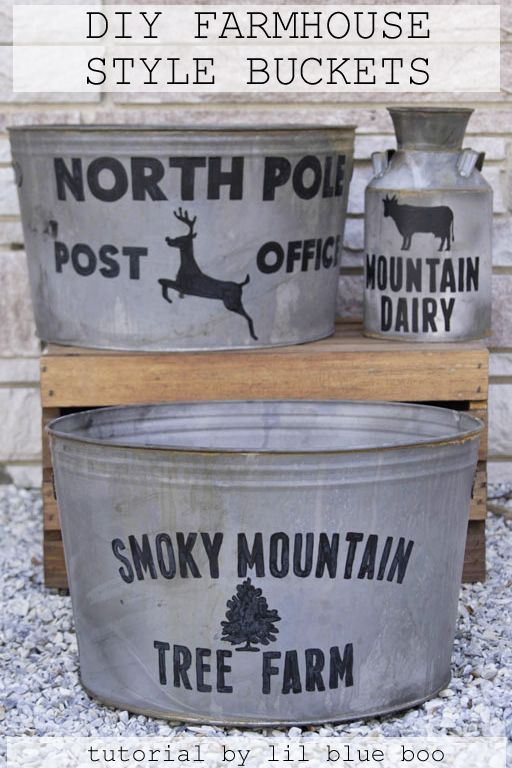 DIY Farmhouse Galvanized Bucket - Distressing Galvanized Metal Tubs and Painting Farmhouse Style Buckets - Free template for download #christmas MichaelsMakers #makeitwithmichaels