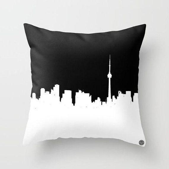 Ideal Christmas Gift Idea Toronto Cushion Cover Home Decor Throw Pillow Cover Toronto Skyline Black And Whit Throw Pillows Pillows Throw Pillows Bedroom