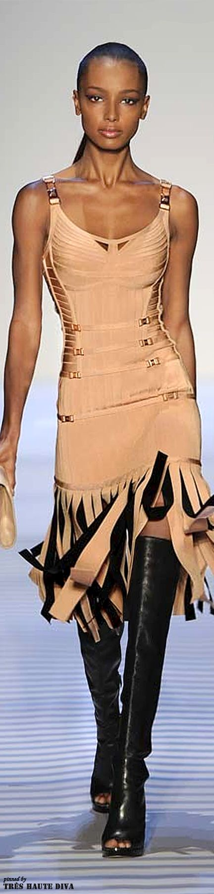 #NYFW Hervé Léger by Max Azria RTW Fall 2014. Love the top. Fringed bottom not so much... You?
