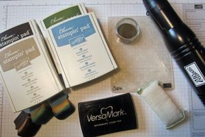 Create a faux patina look with an embossing folder and ink.