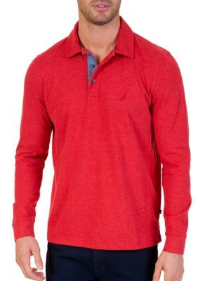 Nautica Men's Long Sleeve Polo - Naut Red - 2Xl