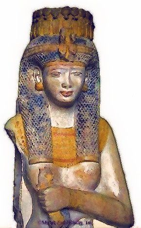 Merytamun, daughter and second Great Royal Wife of Rameses II. This famous statue did not have a nose, so I did a little reconstruction in Photoshop based off of the nose of her mother, Queen Nefertari.