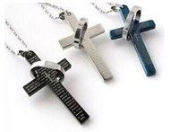 Stainless Steel Men's Cross W. Lord's Prayer in English and Cubic Zirconia Pendant Necklace