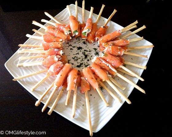 One of my most popular appetizers | Smoked Salmon Wrapped Bread Sticks